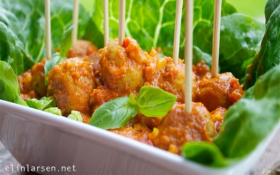 Kylling Tapasboller i Indisk Tomatcurrysaus