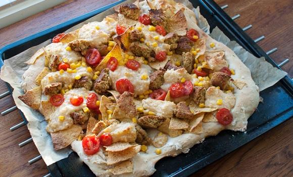 Tacopizza med falafel